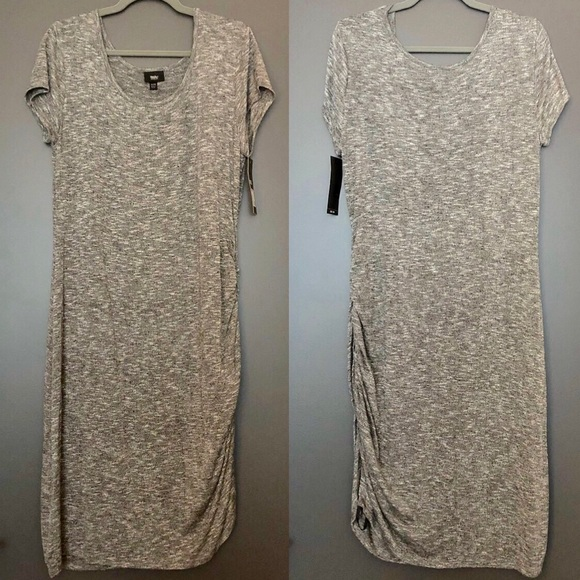 Mossimo Supply Co. Dresses & Skirts - NWT Mossimo Heather Grey Knit Ruched Dress